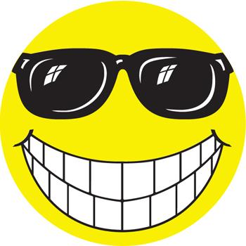 WINDOW STICKERS - HAPPY FACE W/GLASSES